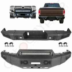 Front / Rear Bumper W Led Lights D-rings Winch For 2010-2018 Dodge Ram 2500 3500