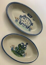 2 Ma Hadley Country Scene Blue 9 Oval Souffle Serving Dishes Frog Pig