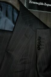 3895 Recent  Blue Striped Wool Suit 40r 35w Italy