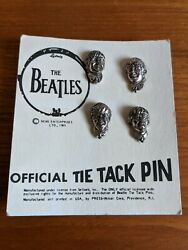 The Beatles 1964 Nems Ltd Official Tie Tack Pins With Card Back