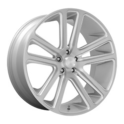 24 Inch 5x139.7 4 Wheels Rims 24x10 +25mm Gloss Silver Brushed Face Dub 1pc