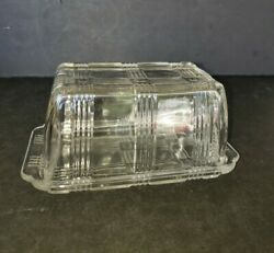 Vintage Hazel Atlas Glass Criss Cross 1 Pound Butter Or Cream Cheese Dish And Lid