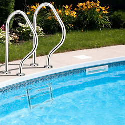 Above Ground Split Swimming Pool Ladder 3-steps And 2 Handrails Stainless Steel