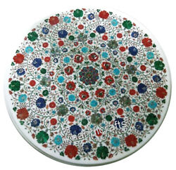 40 Inches Marble Table Top Inlay Royal Dining Table With Multi Gemstones Work