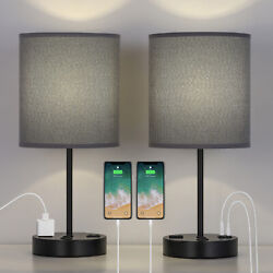 Usb Table Lamp Bedside Lamps With 2 Usb Charging Ports Grey Lampshade