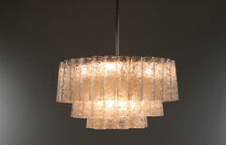 Vintage Glass Tube Chandelier By Doria Pyramide Shape Pendant Lamp 1960and039s