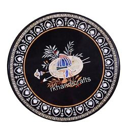 42 Inch Round Shape Dining Table Top Marble Reception Table With Peitra Dura Art