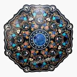 54 Inches Marble Living Room Table Top Multi Gemstones Inlay Work Dining Table