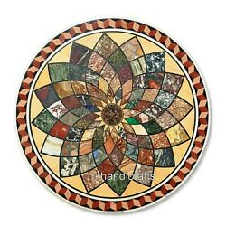 48 Inches Marble Patio Coffee Table Top Round Dining Table With Geometrical Art