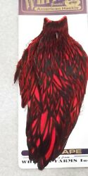 Whiting American Hen Cape Black Laced White Dyed Red Feathers Hackle New