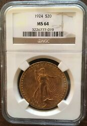 Certified 1924 St. Gaudens Double Eagle 20 Gold Coin Ms64 Rare