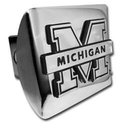 Michigan Wolverines Chrome Metal Hitch Cover [new] Ncaa Trailer Cap Truck