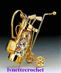 24k Gold Plated Golf Bag Cart With Crystal Ornament 4-1/2 New 180