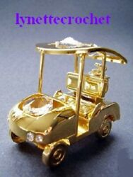 24k Gold Plated Golf Cart With Crystal Ornament 4-1/2 New In Pkg 262