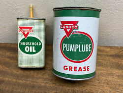 Lot Of 2 Vintage Conoco Pumplube One Pound Grease Can And 4 Oz Household Oil Tin