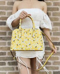 Kate Spade Darcy Fleurette Floral Small Top Zip Satchel Crossbody Yellow White $139.99