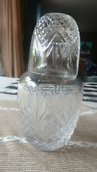 Antique Crystal Decanter Matching Whiskey Crystal Glass Top 7.25
