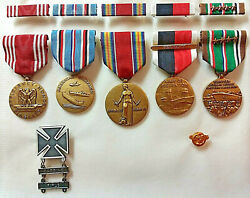 Vintage Wwii Us Army Military Lot Medals Ribbons Bars Badges Pin Battle Stars