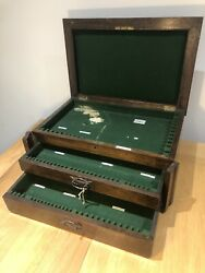 Antique Large Cutlery Canteen Box2 Drawerscollectors Cabinet Display Caseold