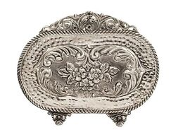 925 Sterling Silver Hand Chased Floral And Glossy Hammered Oval Napkin Holder