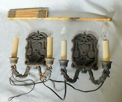 Antique Pair Cast Iron Wall Sconces Electric Late 19th C Doves Hearts Swag Drape