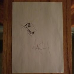 Michael Jackson Drawing Sketch Signed Autograph