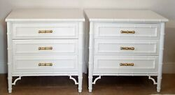 Dixie Aloha White Lacquered 3 Drawers Nightstand/ Small Chest A Pair