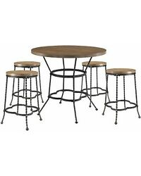Acme Industrial Qamar Table Set With Walnut And Antique Black Finish 71890
