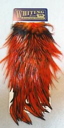 Whiting American Rooster Saddle Black Laced White Dyed Orange Hackle Feathers