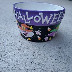 Vtg Ceramic Palm Tree Co. Happy Halloween Black And Purple Bowl Witch Candy Dish