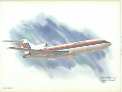 Nixon Galloway United Airlines Aircraft Airplane Litho Print Boeing 727-100 1964