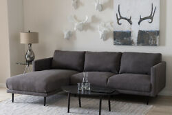 Baxton Studio Riley Retro Upholstered Left Facing Chaise Sectional Sofa