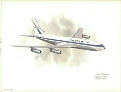 Nixon Galloway United Airline Aircraft Airplane Litho Print Boeing 720 1960-1972