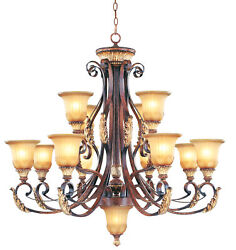 Livex Lighting Verona Bronze With Aged Gold Leaf Accents Chandelier 8559-63