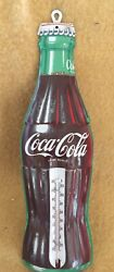 Vintage Coca Cola Bottle 16 Inch Metal Wall Thermometer Excellent Condition Usa