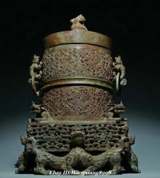 11.8 Old China Bronze Ware Zhan Dynasty Beast Hollow Out Face Food Vessels Box