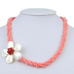 4mm Beads Coral Shell Choker Necklace For Women Statement Evening Party Jewelry
