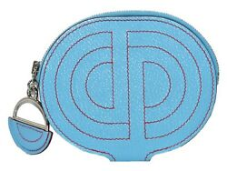 Hermes-in-the-loop Coin Case D Engraved Blue Leather Women Men Unisex