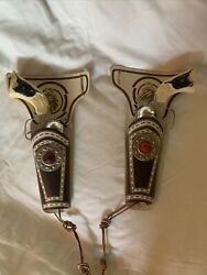 Vintage Cap Gun Toy And Holster Faux Leather With Red Jewel Cowboy Western