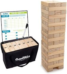 Giant Toppling Tower Tumbling Timbers Game Set Case Outdoor Table Blocks Gift