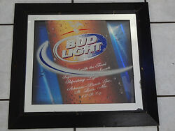 Large Bud Light 3 Layer Mirror Sign 24 X 22 Budweiser Good Condition Fast S/h