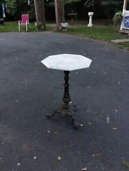 Antique Fancy Victorian Cast Iron And Marble Cafe Garden Table