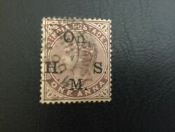 India,one Anna Stamp, With On H.m.s Mark, Used