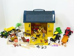 New-ray Marx Vintage Barn Playset Toy Farm Animals Huge Lot Country Tractor
