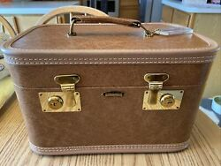 """Vintage Insured Trunks Indestructo Luggage Carry On 14"""" X 9"""" X 9"""" With Keys Ex"""