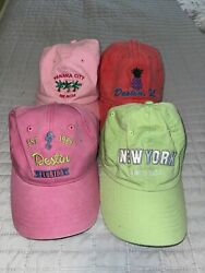 Lot Of 4 Women's Souvenir Collectible Beach Ball Caps One-size Fits Most