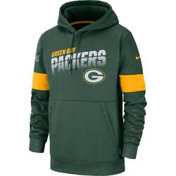 New Nike Green Bay Packers Sideline Logo Performance Dri-fit Pullover Hoodie Nwt