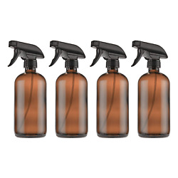 Empty Amber Glass Spray Bottles With Labels 4 Pack - 16oz Refillable Container
