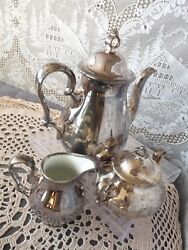Rosenthal Germany Pompadour Silver Plated Overlay Chippendale Coffee Service Set