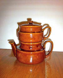 Vintage Dripolator Style Teapot Or Coffee Pot - 4 Piece Complete - Brown